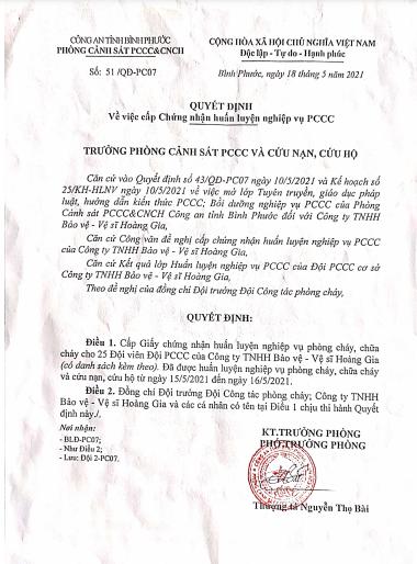 Chứng nhận huấn luyện nghiệp vụ PCCC